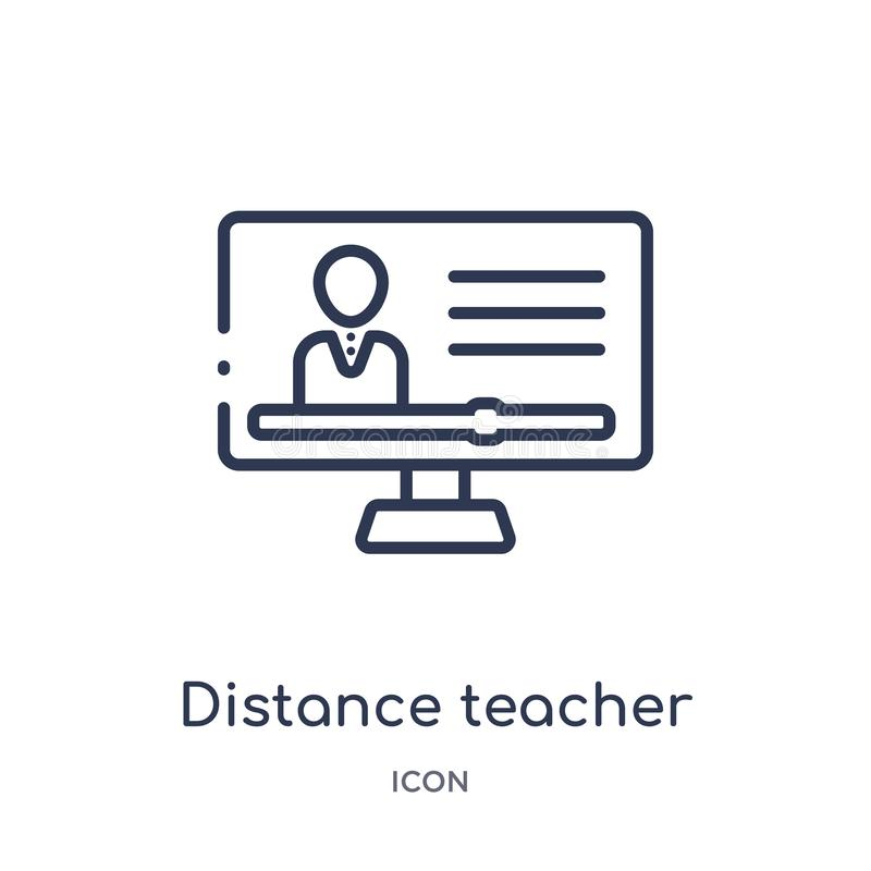 Linear distance teacher icon from Elearning and education outline collection. Thin line distance teacher vector isolated on white stock illustration