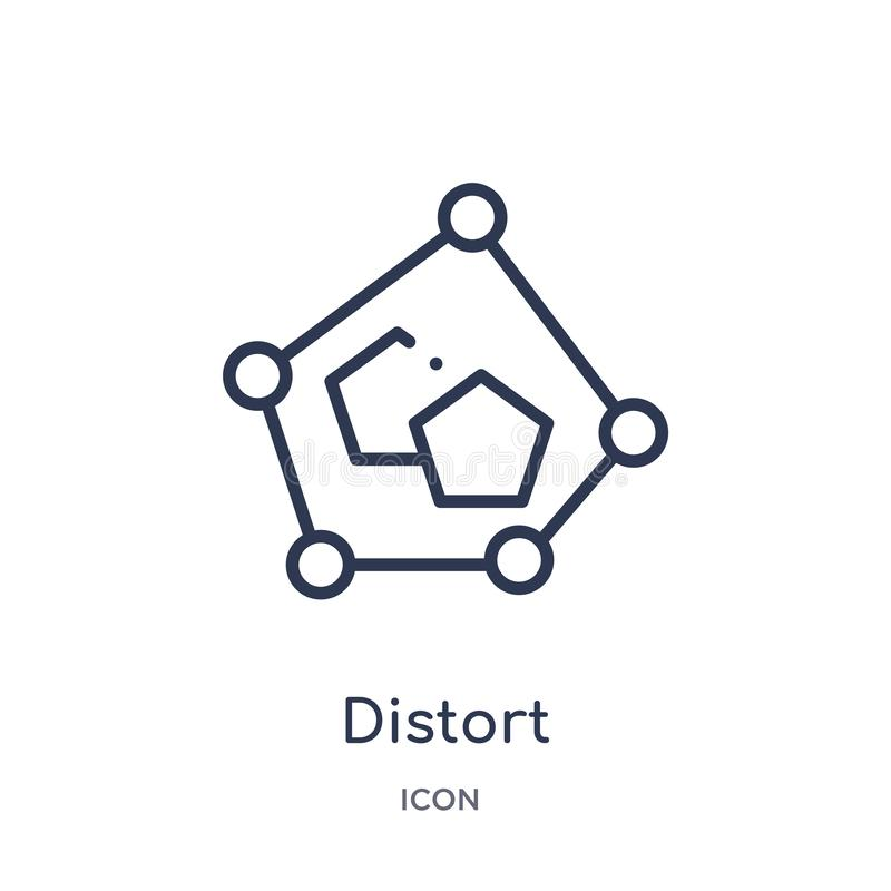 Linear distort icon from Geometric figure outline collection. Thin line distort icon isolated on white background. distort trendy royalty free illustration