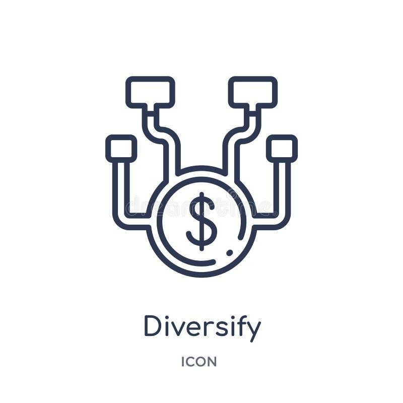 Linear diversifique el icono de la colección del esquema del márketing La línea fina diversifica el icono aislado en el fondo bla ilustración del vector