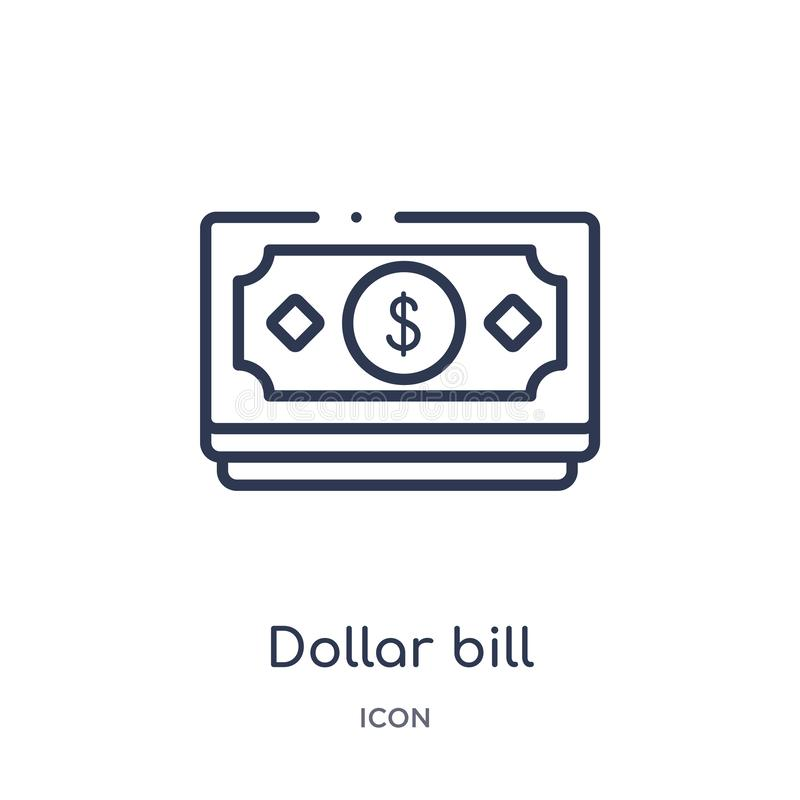 Linear dollar bill icon from Ecommerce and payment outline collection. Thin line dollar bill vector isolated on white background. stock illustration
