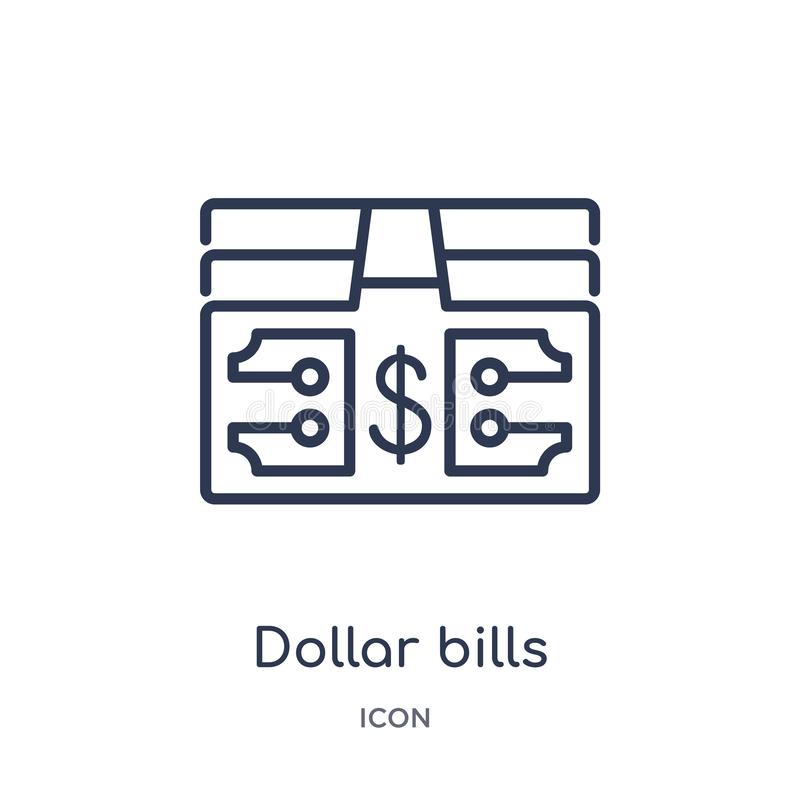 Linear dollar bills icon from Business outline collection. Thin line dollar bills icon isolated on white background. dollar bills stock illustration