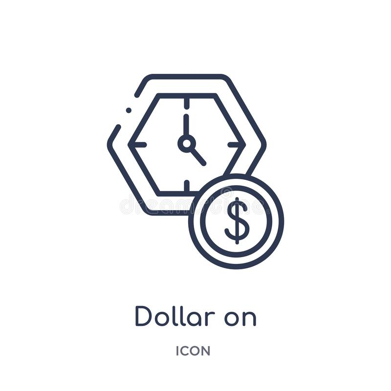 Linear dollar on business time icon from Business outline collection. Thin line dollar on business time icon isolated on white royalty free illustration