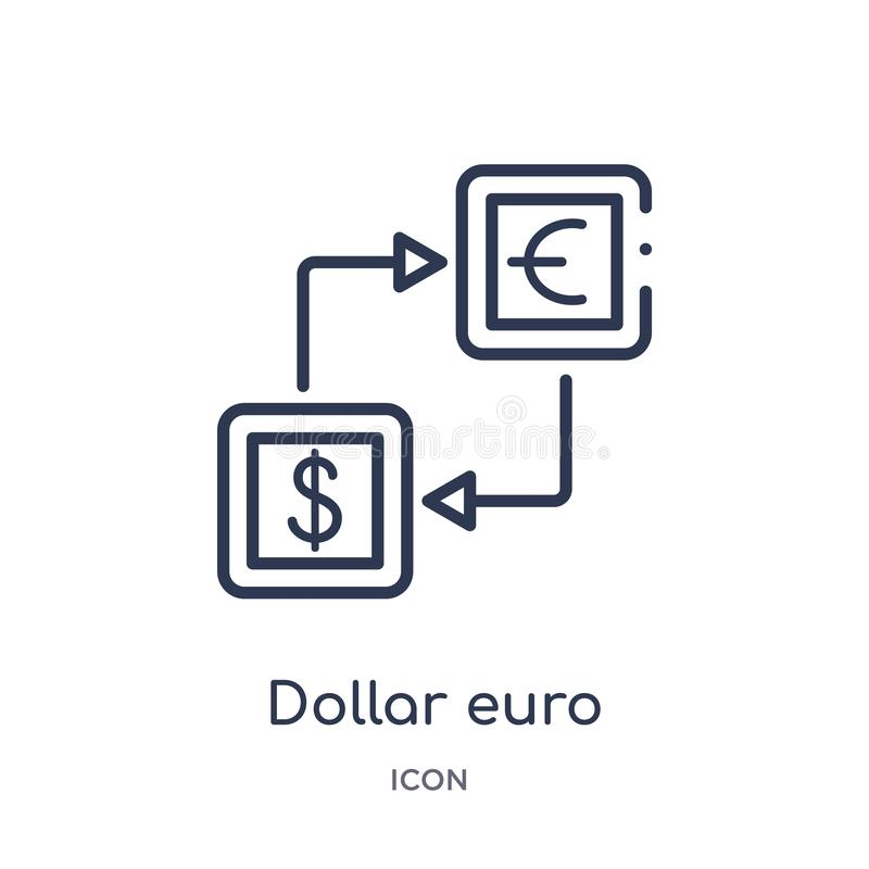 Linear dollar euro money exchange icon from Business outline collection. Thin line dollar euro money exchange icon isolated on vector illustration
