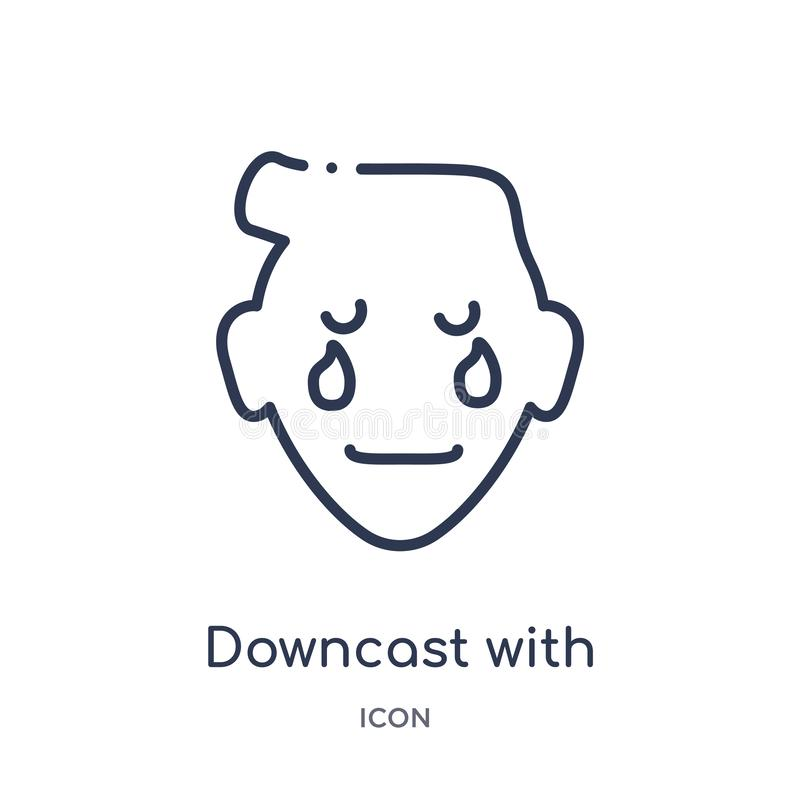 Linear downcast with sweat emoji icon from Emoji outline collection. Thin line downcast with sweat emoji vector isolated on white. Background. downcast with vector illustration