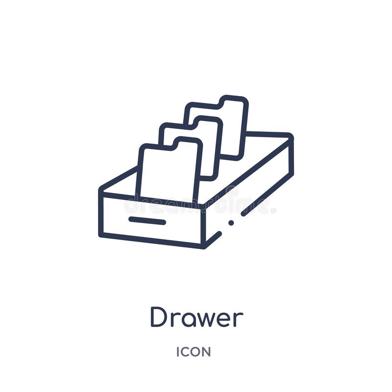 Linear drawer icon from Content outline collection. Thin line drawer vector isolated on white background. drawer trendy. Illustration royalty free illustration