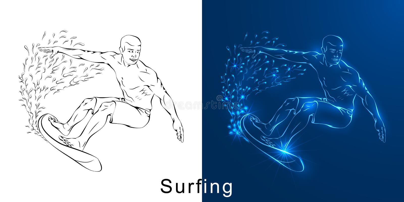 The linear drawing of the surfer on a board stock illustration