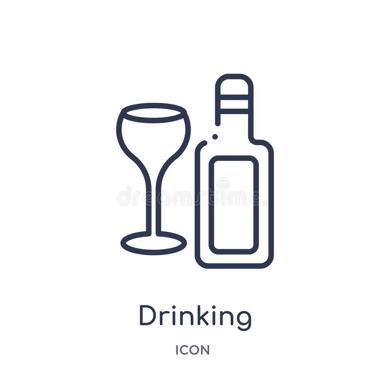 Free Linear Drinking Icon From Food Outline Collection. Thin Line Drinking Icon Isolated On White Background. Drinking Trendy Royalty Free Stock Images - 140073059