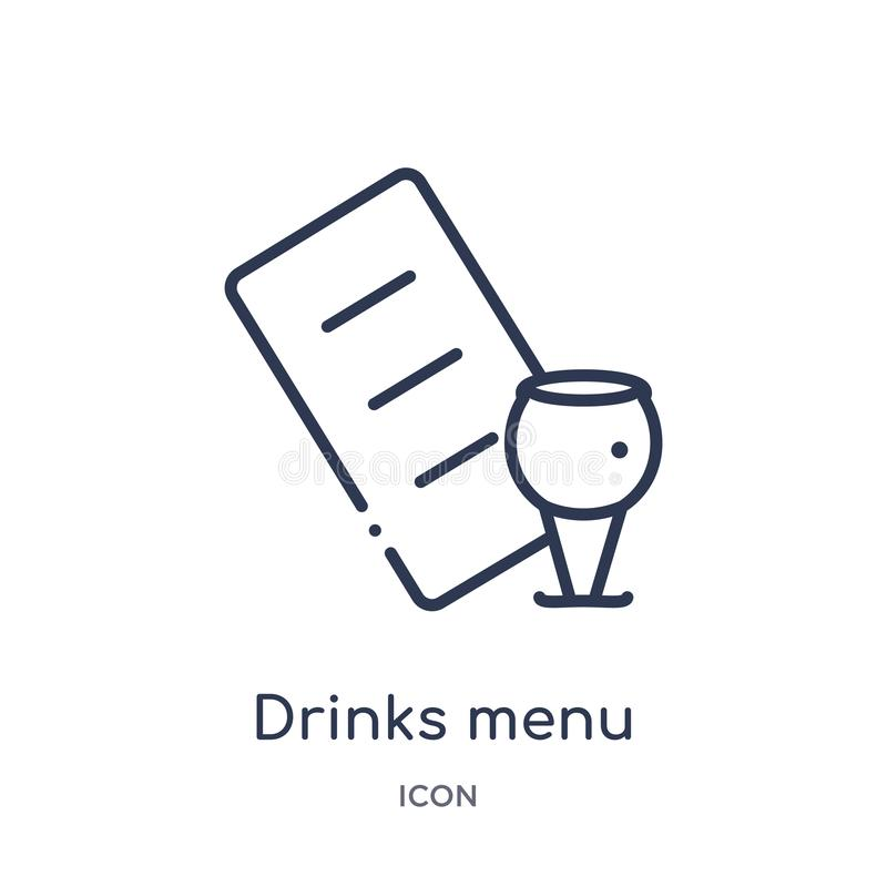 Linear drinks menu icon from Food outline collection. Thin line drinks menu icon isolated on white background. drinks menu trendy. Illustration stock illustration