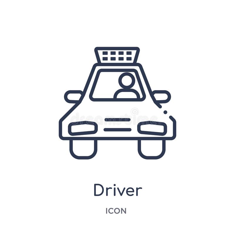 Linear driver icon from Job profits outline collection. Thin line driver icon isolated on white background. driver trendy vector illustration