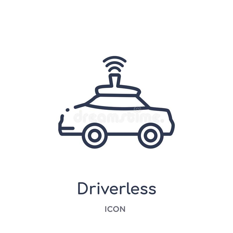Linear driverless autonomous car icon from Artificial intellegence and future technology outline collection. Thin line driverless stock illustration