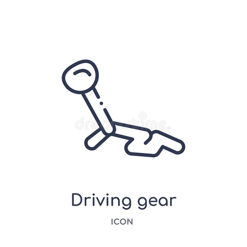 Linear driving gear controls icon from Mechanicons outline collection. Thin line driving gear controls icon isolated on white royalty free illustration