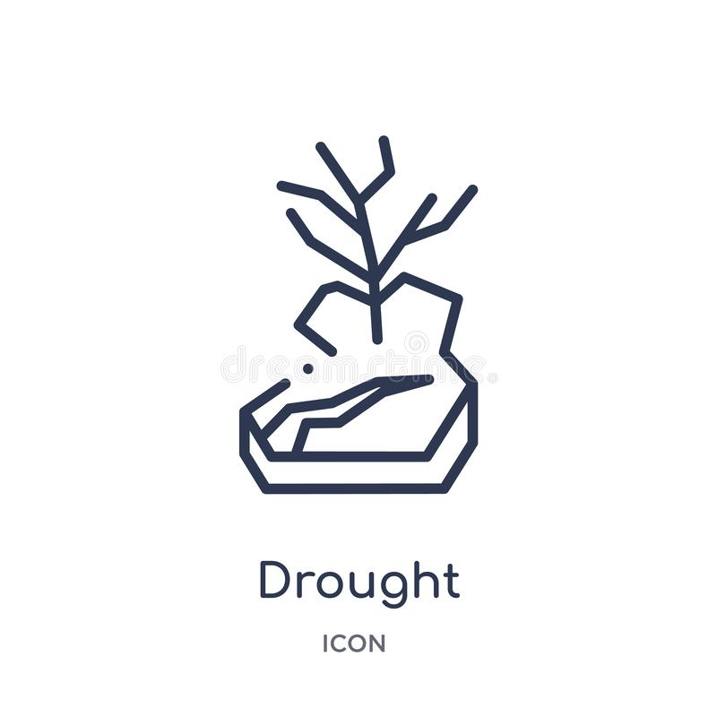 Linear drought icon from Meteorology outline collection. Thin line drought icon isolated on white background. drought trendy stock illustration