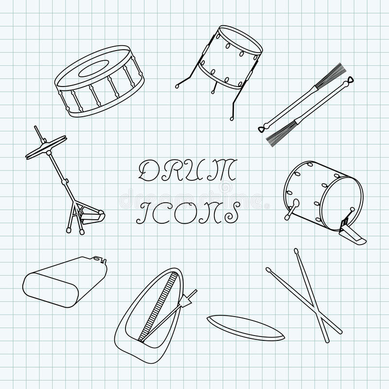 Linear drum icons on the notebook sheet in a cage. Doodle. Vector royalty free illustration