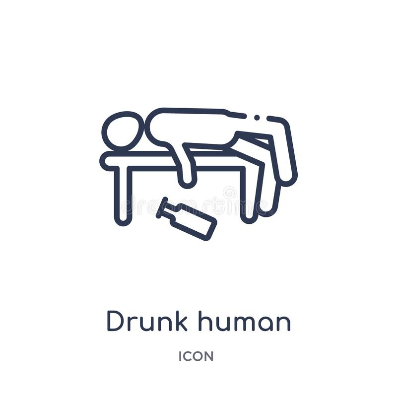 Linear drunk human icon from Feelings outline collection. Thin line drunk human vector isolated on white background. drunk human vector illustration