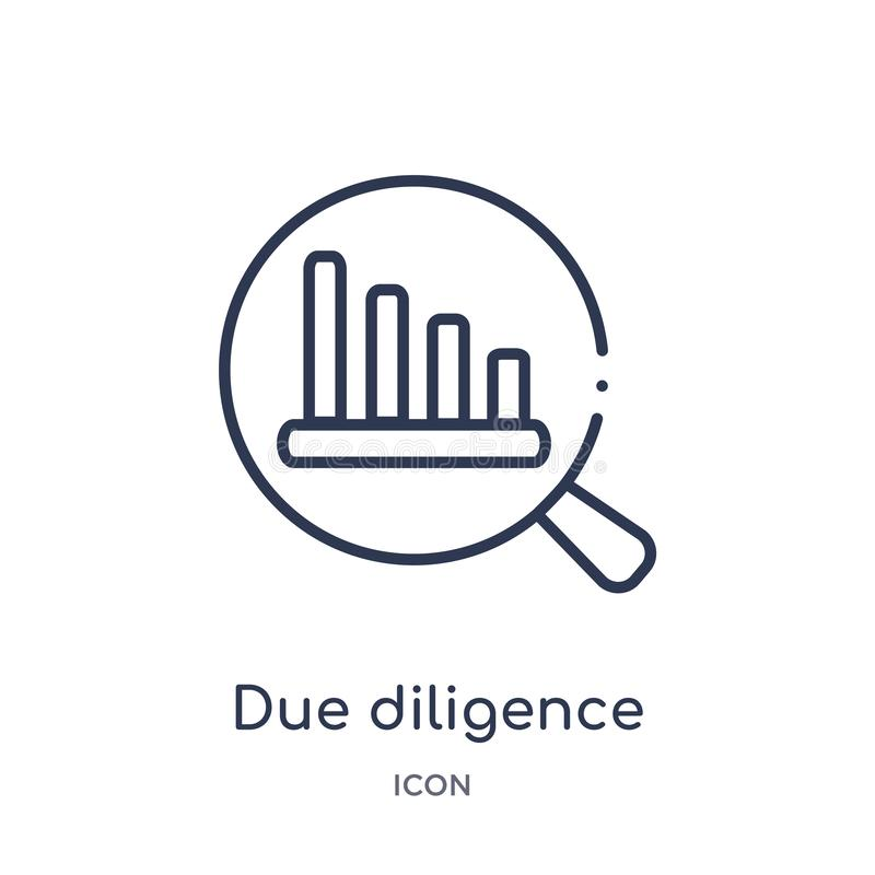 Linear due diligence icon from Human resources outline collection. Thin line due diligence icon isolated on white background. due. Diligence trendy illustration stock illustration