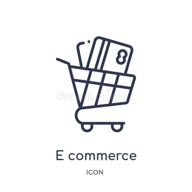 Linear e commerce shopping cart tool icon from Commerce outline collection. Thin line e commerce shopping cart tool icon isolated vector illustration