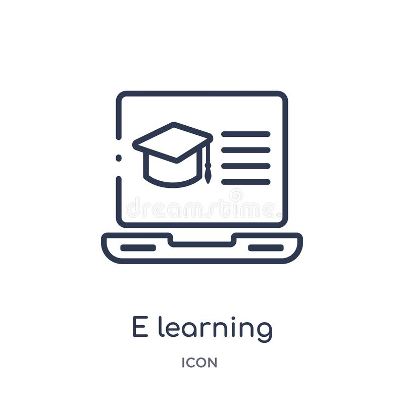 Linear e learning icon from Elearning and education outline collection. Thin line e learning vector isolated on white background. royalty free illustration
