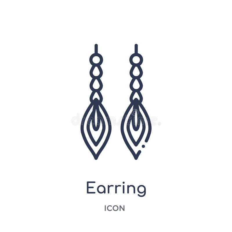 Linear earring icon from Jewelry outline collection. Thin line earring icon isolated on white background. earring trendy vector illustration