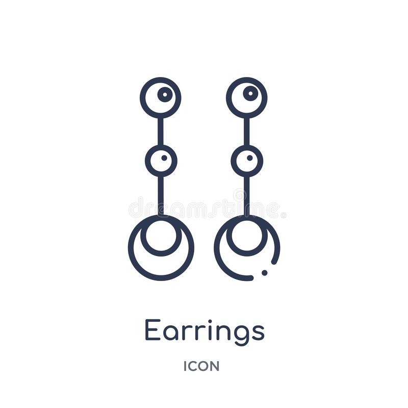 Linear earrings icon from Luxury outline collection. Thin line earrings icon isolated on white background. earrings trendy royalty free illustration
