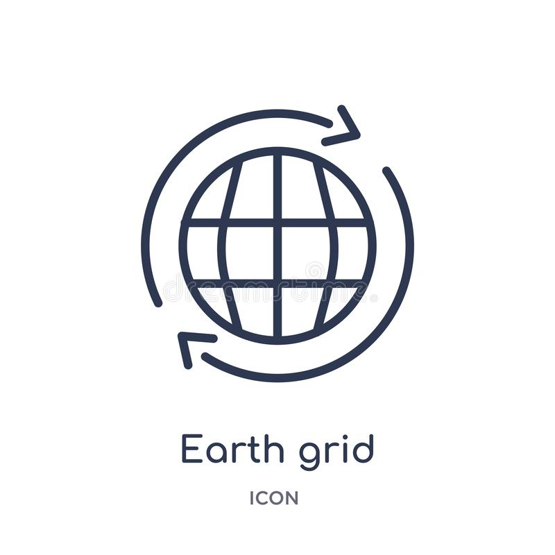 Linear earth grid icon from Delivery and logistic outline collection. Thin line earth grid vector isolated on white background. vector illustration
