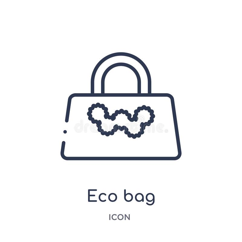 Linear eco bag icon from Ecology outline collection. Thin line eco bag vector isolated on white background. eco bag trendy royalty free illustration