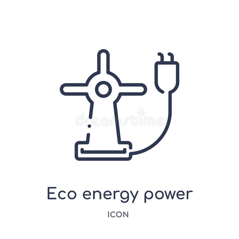 Linear eco energy power icon from Ecology outline collection. Thin line eco energy power vector isolated on white background. eco vector illustration