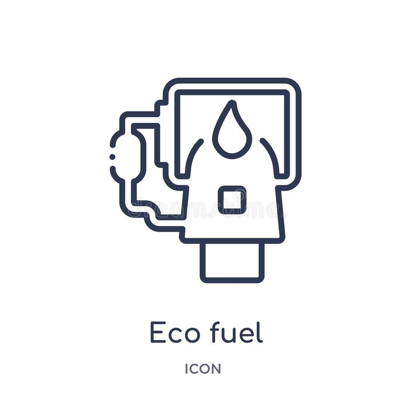 Linear eco fuel icon from Ecology outline collection. Thin line eco fuel vector isolated on white background. eco fuel trendy stock illustration