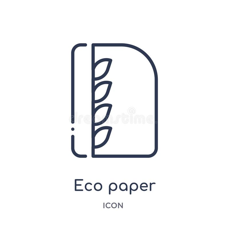 Linear eco paper icon from Ecology outline collection. Thin line eco paper vector isolated on white background. eco paper trendy stock illustration