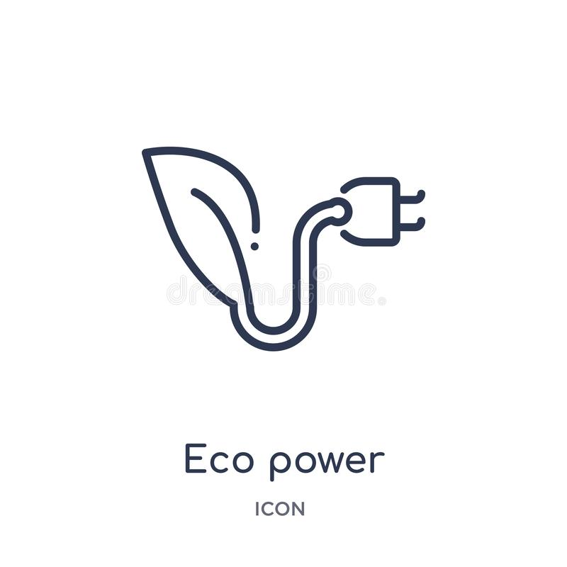 Linear eco power icon from Ecology outline collection. Thin line eco power vector isolated on white background. eco power trendy. Illustration stock illustration