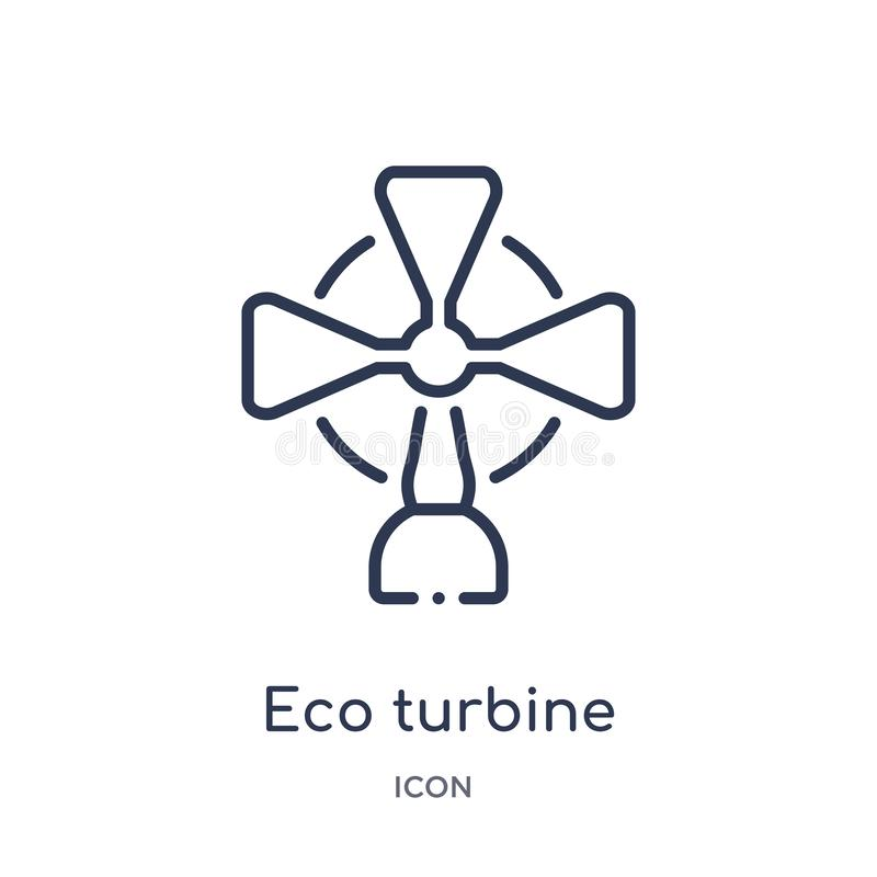 Linear eco turbine icon from Ecology outline collection. Thin line eco turbine vector isolated on white background. eco turbine stock illustration