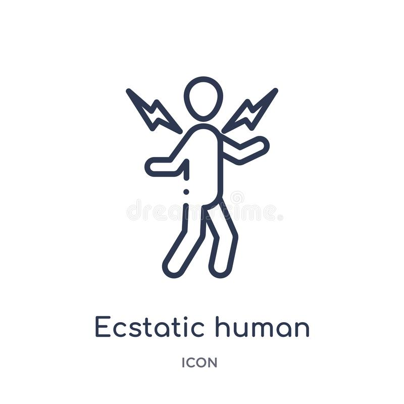 Linear ecstatic human icon from Feelings outline collection. Thin line ecstatic human vector isolated on white background. vector illustration