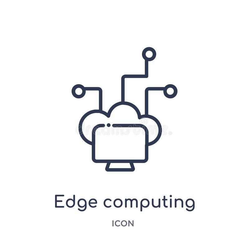 Linear edge computing icon from General outline collection. Thin line edge computing icon isolated on white background. edge stock illustration