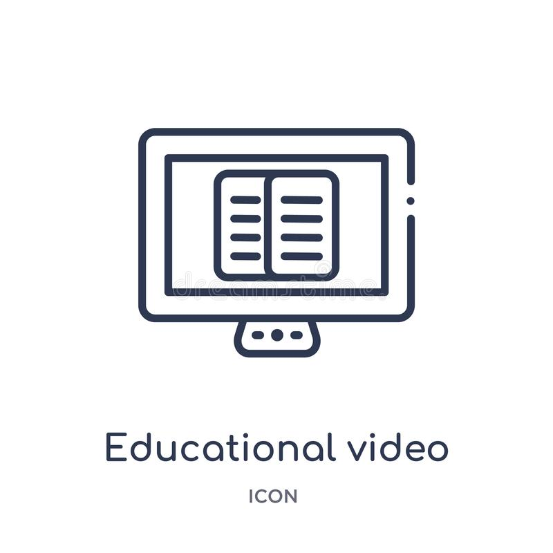 Linear educational video icon from Education outline collection. Thin line educational video vector isolated on white background. royalty free illustration