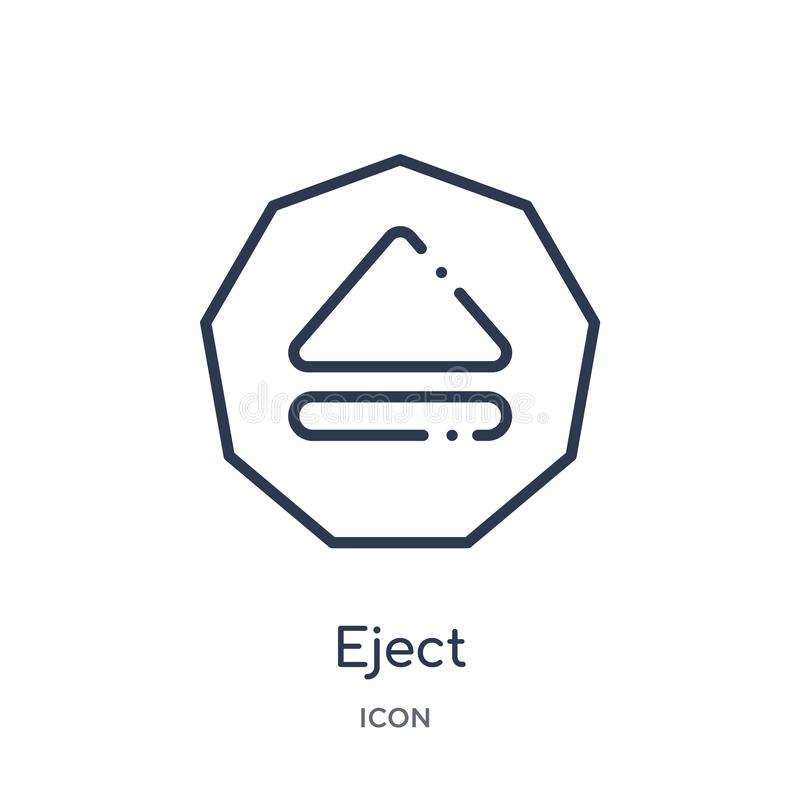 Linear eject icon from Interface outline collection. Thin line eject icon isolated on white background. eject trendy illustration. Icon vector illustration