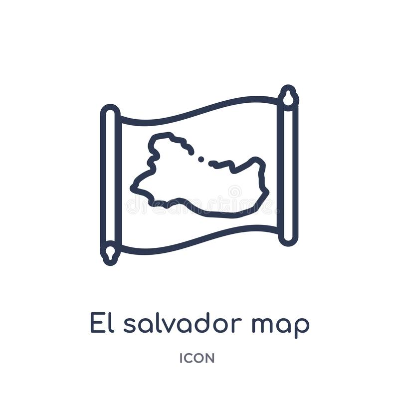 Linear el salvador map icon from Countrymaps outline collection. Thin line el salvador map vector isolated on white background. el stock illustration