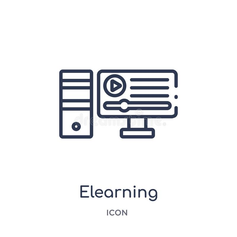 Linear elearning icon from Elearning and education outline collection. Thin line elearning vector isolated on white background. royalty free illustration