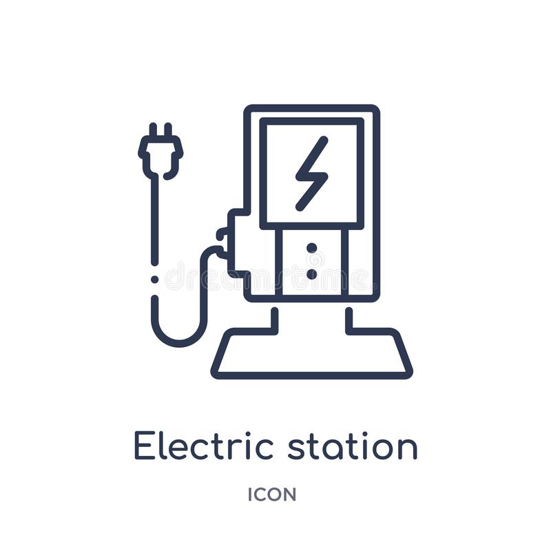 Linear electric station icon from Ecology outline collection. Thin line electric station vector isolated on white background. stock illustration