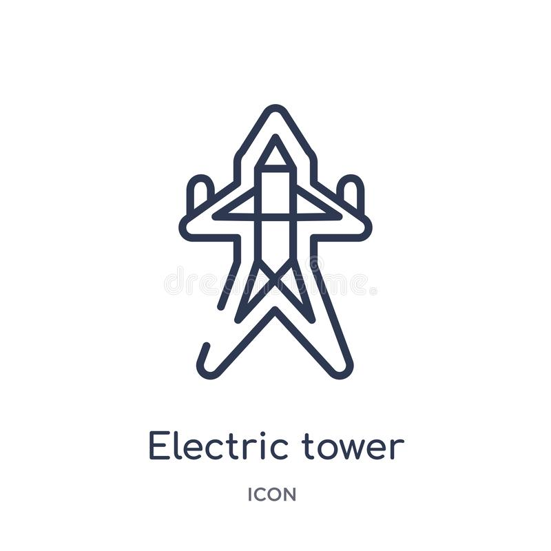 Linear electric tower icon from Construction tools outline collection. Thin line electric tower vector isolated on white royalty free illustration