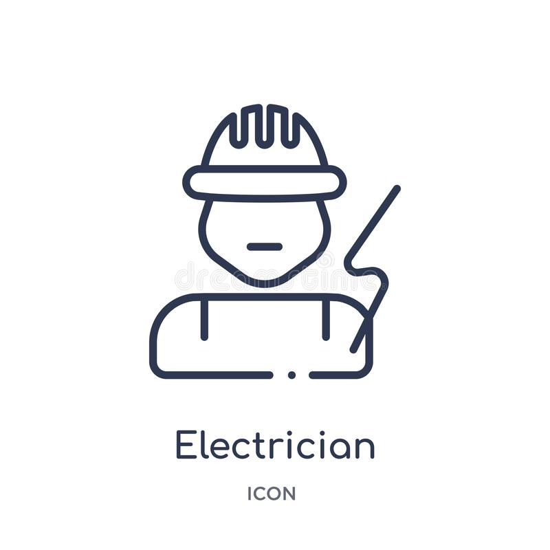 Linear electrician icon from Electrian connections outline collection. Thin line electrician vector isolated on white background. vector illustration