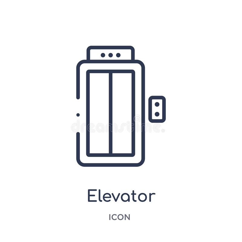 Linear elevator icon from Hotel outline collection. Thin line elevator icon isolated on white background. elevator trendy royalty free illustration