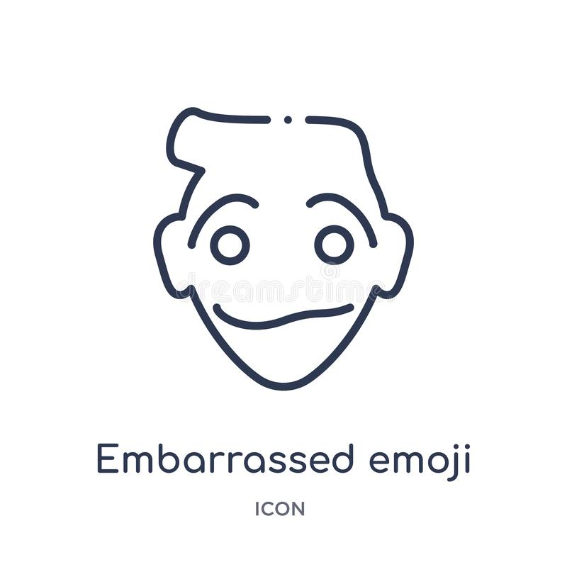 Linear embarrassed emoji icon from Emoji outline collection. Thin line embarrassed emoji vector isolated on white background. royalty free illustration