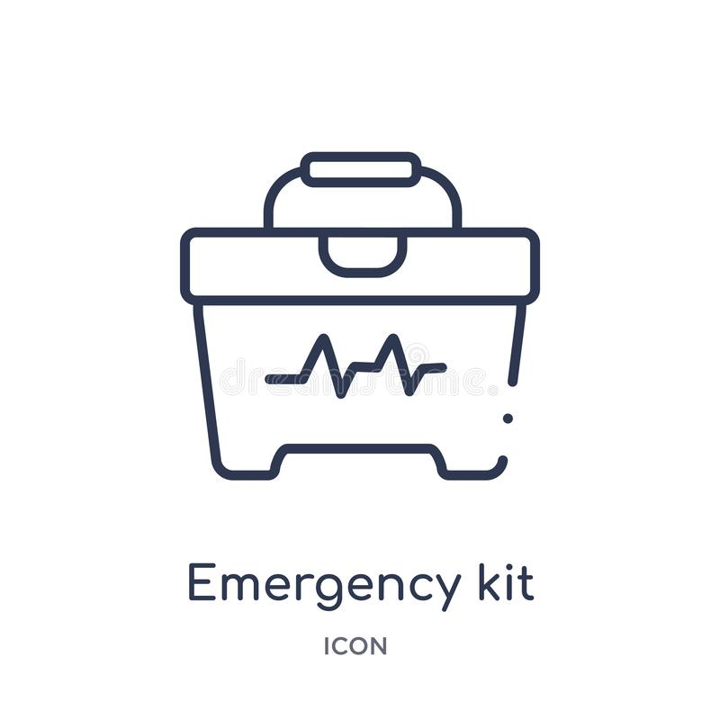 Linear emergency kit icon from Medical outline collection. Thin line emergency kit icon isolated on white background. emergency royalty free illustration