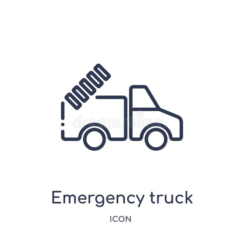 Linear emergency truck icon from Airport terminal outline collection. Thin line emergency truck vector isolated on white vector illustration