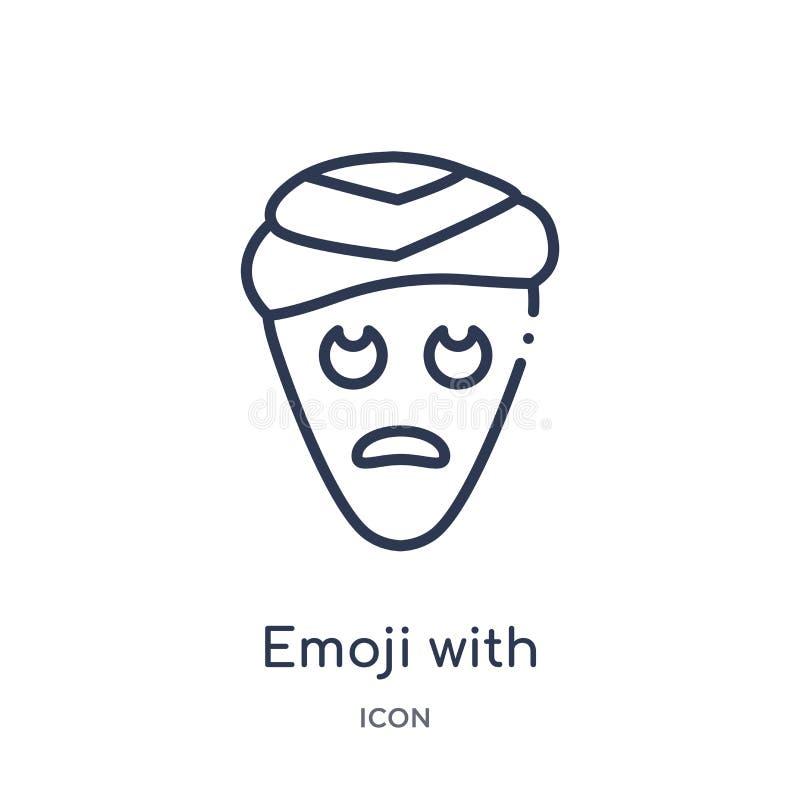 Linear emoji with head-bandage emoji icon from Emoji outline collection. Thin line emoji with head-bandage emoji vector isolated. On white background. emoji stock illustration