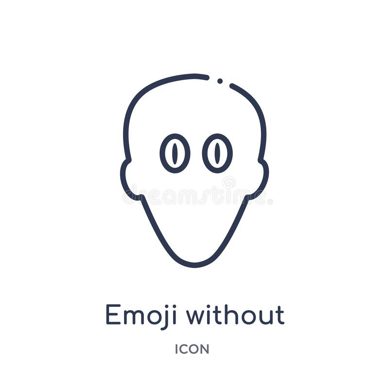 Linear emoji without mouth icon from Emoji outline collection. Thin line emoji without mouth vector isolated on white background. Emoji without mouth trendy vector illustration