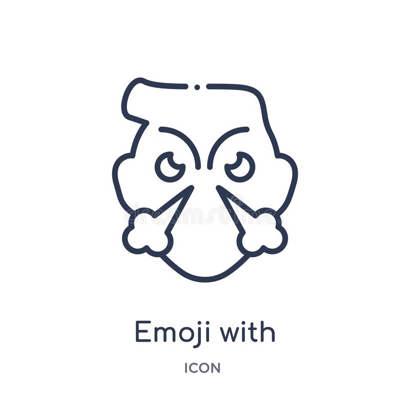 Linear emoji with steam from nose icon from Emoji outline collection. Thin line emoji with steam from nose vector isolated on. White background. emoji with vector illustration