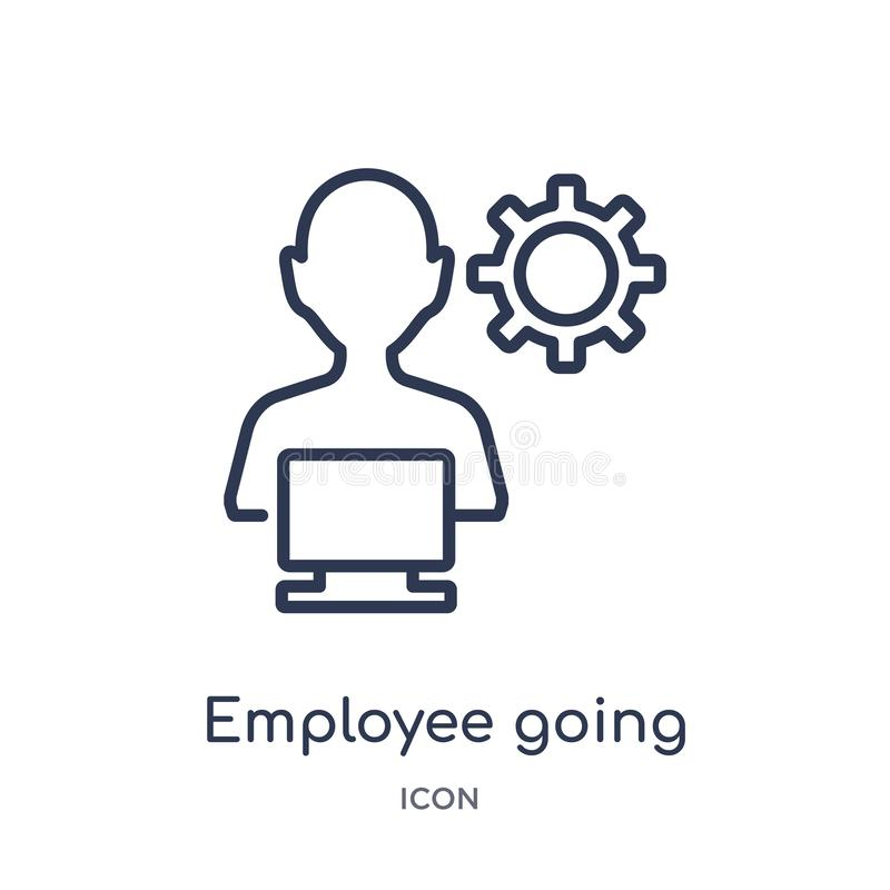 Linear employee going to work icon from Business outline collection. Thin line employee going to work icon isolated on white stock illustration