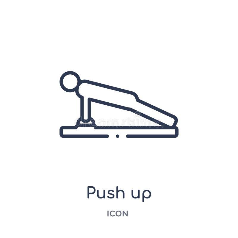 Linear empuje hacia arriba el icono del gimnasio y de la colección del esquema de la aptitud La línea fina empuja hacia arriba el stock de ilustración