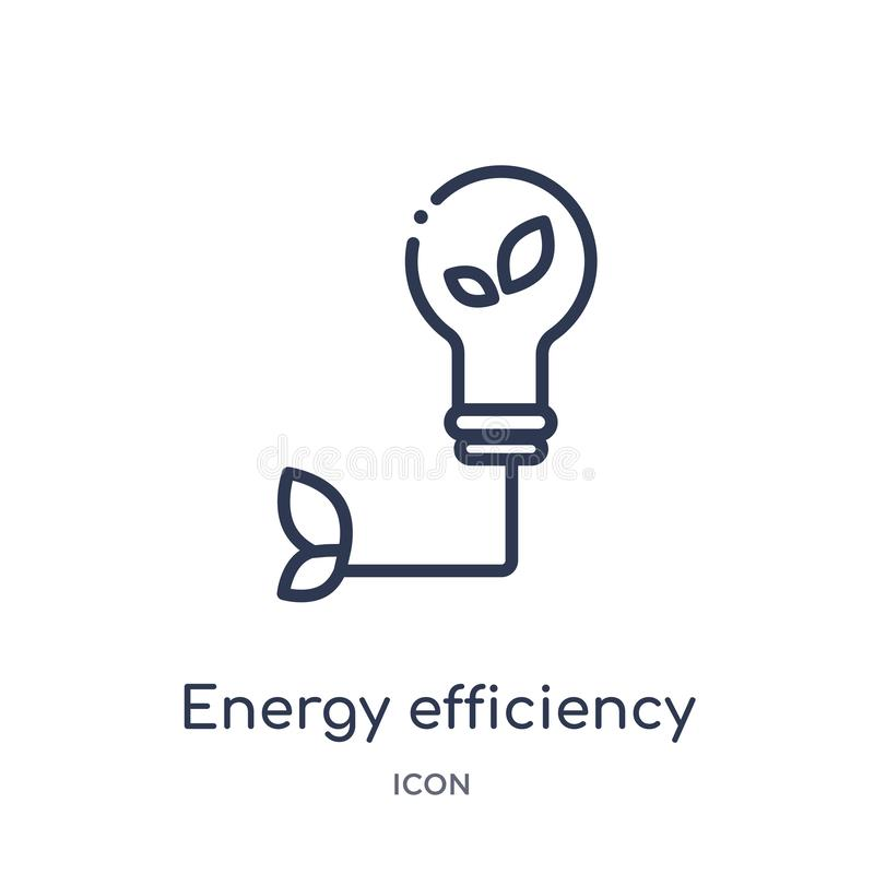 Linear energy efficiency icon from General outline collection. Thin line energy efficiency icon isolated on white background. royalty free illustration