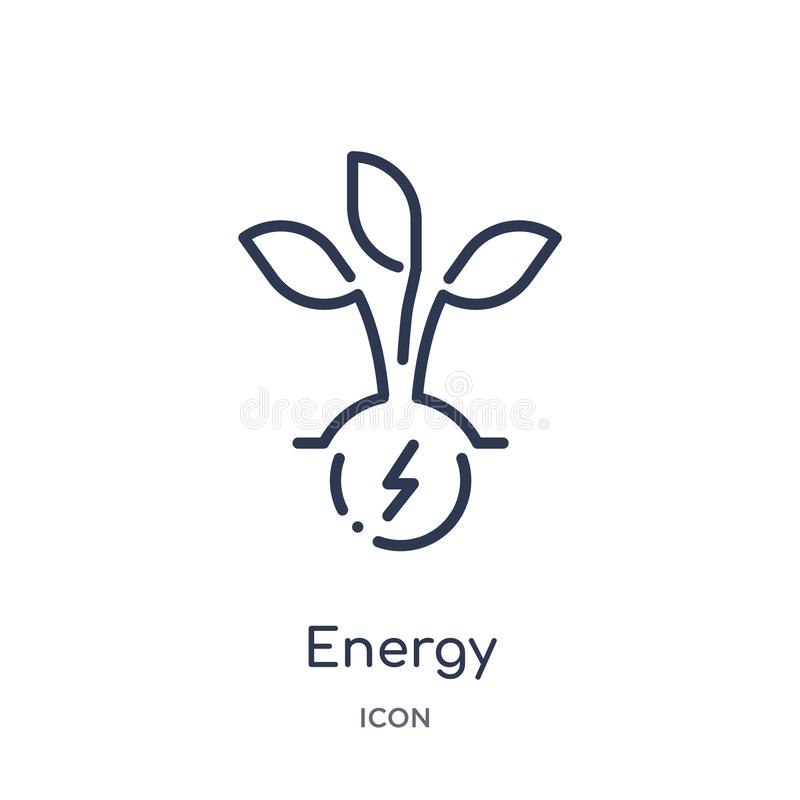 Linear energy icon from Ecology outline collection. Thin line energy vector isolated on white background. energy trendy vector illustration